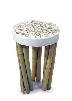 Stool from the Bamboo Cell collection by Fanson Meng. Concrete Furniture, Bamboo Furniture, Unique Furniture, Cheap Furniture, Home Furniture, Furniture Design, Furniture Movers, Furniture Stores, Bamboo Art