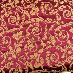 Fancy Scroll Fabric Upholstery Decor Red Gold Drapery Vtg Designer By The Yard #Unbranded