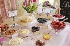 This is a crepe bar, but we can adopt for pancakes - I like the set-up.