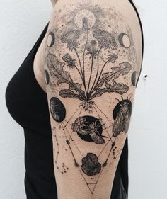 Cycles : dandelion seed as full moon and drifting stars, hatching cicada shells, with hunter's arrows and obsidian - flanked by the Orion and Scorpio constellation standing off! Thanks Cecily!