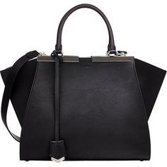 Fendi Mini 3Jours Shopper (172.880 RUB) ❤ liked on Polyvore featuring bags, handbags, tote bags, purses, accessories, black, black leather purse, leather tote, leather handbags and black leather tote