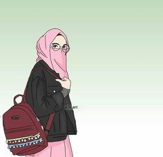 Me while going school Cartoon Kunst, Cartoon Gifs, Cute Cartoon Wallpapers, Girl Cartoon, Cartoon Art, Cartoon Images, Muslim Pictures, Islamic Pictures, Hijab Drawing