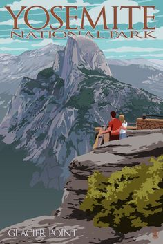 Yosemite National Park, California - Glacier Point & Half Dome - Lantern Press Artwork (Art Print Available) California National Parks, Us National Parks, Yosemite National Park, California Travel, Vintage National Park Posters, Poster Retro, Design Poster, Poster Prints, Art Prints