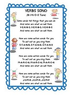 """Verbs Song"" is sung to the tune of ""B-I-N-G-O."" It is very fun and is easy for the students. The students will quickly learn what a verb is by sin. First Grade Activities, Reading Activities, Noun Song, Auditory Learning, Teaching Verbs, Verb Examples, Smash Book Inspiration, Verb Worksheets, Music Lesson Plans"