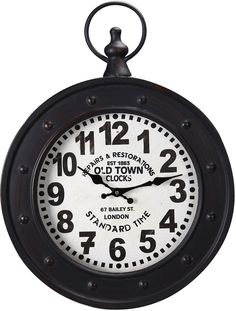 Black Iron Vintage Style 'Old Town Clocks' Pocket Watch Style Hanging Wall Clock #Adeco #Vintage