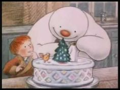 The Snowman, An Academy Award Nominee (Best Animated Short Film, 1982). This beautiful children's story tells the magical tale of a boy whose snowman comes alive.  Narrated by DAVID BOWIE  - pull it up on youtube on your TV and let the kids enjoy  ||  ▶ The Snowman, Full Version [HD] - YouTube