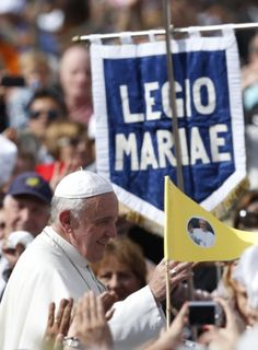 Pope passes Legion of Mary sign after celebrating Mass in honor of Mary at Vatican