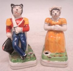 Staffordshire Pottery Pair OF Companion Figures CAT PEN Holders | eBay