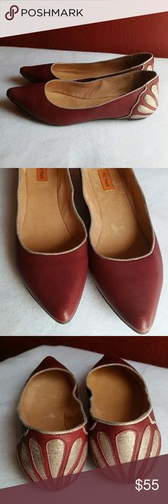 Miz  Mooz Flats NWOB Burgundy Miz Mooz leather flat with silver outline and detail on back. Miz Mooz Shoes Flats & Loafers