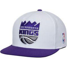 a8bdb92346292 Mitchell   Ness Sacramento Kings White Purple XL Team Logo 2-Tone  Adjustable Snapback Hat