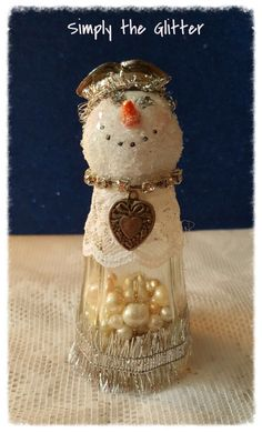 "Snowman Assemblage, Vintage Salt Shaker Snowman ""Scarlett"", Glass shaker, snowman decoration, Christmas Collectible, Snow Lady, Original by SimplyTheGlitter on Etsy"
