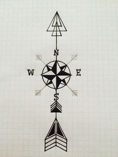 Arrow Compass Tattoo Design                              …