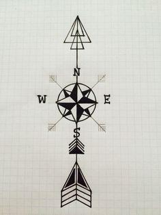 Arrow Compass Tattoo Design