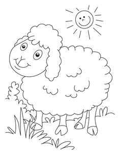 Cute Sheep On A Sunny Day Coloring For Kids