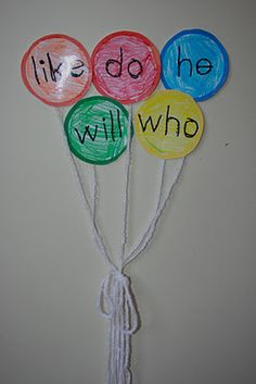 Would be cute to do a balloon cluster for each child, adding balloons as they learn the word.  Would take a lot of space but would be worth it.