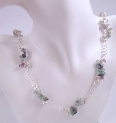 Long Fluorite Gemstone chip beads Necklace.