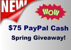 Win $75 Paypal Cash! Expires:  May 9, 2015 Eligibility:  United States | 18+