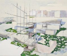 Dan Bayles  Chief Mission Residence (US Embassy in Baghdad)  2007 Mixed media on canvas 203.2 x 228.6 cm