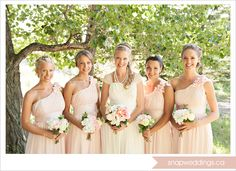 Pink bridesmaid dresses with one floral strap: I like this strap better! Flower/poof not so large! Modest, fashionable!