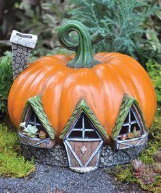 Fairy Pumpkin House Garden Figure #zulily #zulilyfinds