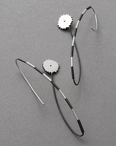 Rita Rodner Earrings: Black meadow VIII, 2014 Sterling silver, patina 6.6 x 0.7 cm