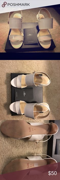 Coach off white sandals Coach off white sandals, practically brand new. I've only worn them once. These shoes will come in the original box and coach care card. Coach Shoes Sandals