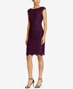 Lauren Ralph Lauren Lace Sheath Dress - Raisin 10