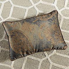 Frost Blue Velvet Rectangle Toss Pillow