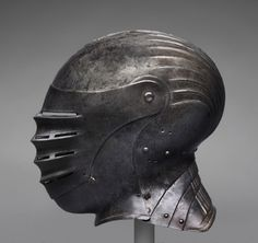 Close Helmet, classic maximilian style South German or Austrian  Engraved and punched steel