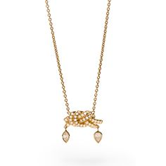 """A geisha is beautiful in her own way, and like a willow tree, gracious, flexible, and strong."" Our Geisha Necklace is all that and more. ​​This diamond pavé double knot pendant, crafted in 18k gold and adorned with alluring diamond drops, is sure to quicken your pulse with its tangled elegance."