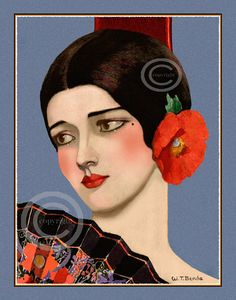 Art Deco Exotic Beauty Print by W.T. Benda by DragonflyMeadowsArt