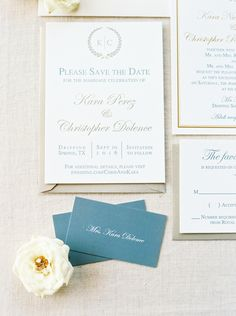 Letterpress printed save the dates by The Inviting Pear Credit: Jenna McElroy Photography