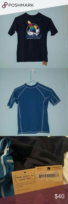 "3 ""Land's End"" Boy Swim Shirts (: 3 ""Land's End"" Boy Swim Shirts. Protects From Sun & Water Proof. 1 Navy With Design (NWT), 1 Solid Navy, & 1 Light Blue All Size M (10-12). Little Brother Never Wore These. Excellent Condition!!! Lands' End Shirts & Tops"