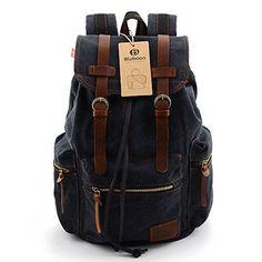 Oferta: 40.99€ Dto: -32%. Comprar Ofertas de BLUBOON Vintage Mochilas de lona para hombre/mujer Casual Backpack Canvas Rucksack (Negro) barato. ¡Mira las ofertas!