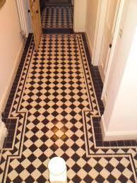 black and white tiled floor
