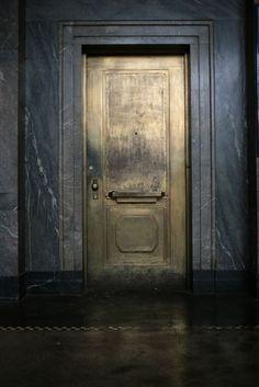 Make an exit.or an entrance. Love the look of this antiqued gold door against the dark walls. The Doors, Windows And Doors, Metal Doors, Wooden Doors, Interior Dorado, Door Design, House Design, Design Design, Design Ideas