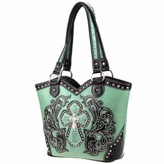 www.thewesternboutique.com,   Sage Cross Handbag.  The Western Boutique carries a beautiful collection of Montana West Cowgirl Bling Western Handbags are made from genuine leather, cowhide and other materials. Featuring Rhinestones, Buckles, Crosses and Pistols with Jeweled accents. Also see our matching western Wallets, Rhinestone T-Shirts, Flip Flops, Jewelry, Rhinestone Bling Belts