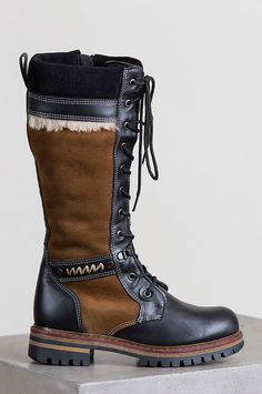 df7ddfa19e5d81 Women s Ilka Shearling-Lined Waterproof Italian Calfskin Suede and Leather  Boots