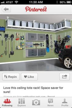 Love the ceiling storage! I think probably the camping gear as it's less used.