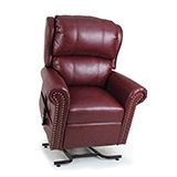 The Pub Chair is a traditional style two pillow waterfall back recliner featuring decorative brass nail head trim on both the arms and wings. The supple waterfall, zipper back design allows for customizing comfort. This dual motor chair is part of the MaxiComfort series. Recline in style! Starting at $1,299.00