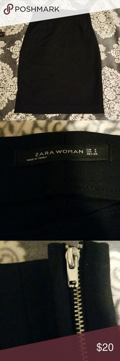 Gorgeous black skirt Sexy/professional black skirt size S. Top to bottom approx 24.5in. Waist approx 13.5. Slit approx 6in. Excellent condition! All my items are smoke free and ship fast! Zara Skirts