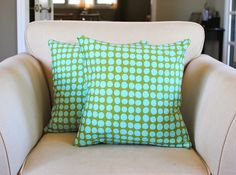 Grass Green and Aqua Polka Dot Pillow Covers