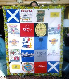 T-shirt shrunk? Save the logo and the memories on a t-shirt quilt.  I want to do this for both of my kids!