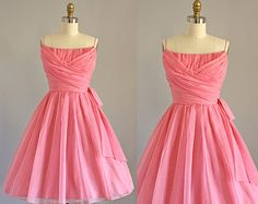 Vintage 50s Dress/ 1950s Party Dress/ Lorrie Deb Bubblegum Pink Party Dress w/ Ruching XS