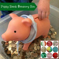 Piggy Bank Sensory Bin Using Coins from Lalymom Part of 40 Sensory Bin Fillers Series #Sensory #SmartMarch #FineMotor