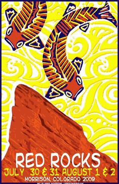 Original concert lot poster for Phish at Red Rocks in Morrison, CO 2009. 11 x 17 on cardstock. Art by Maria DiChiappari.