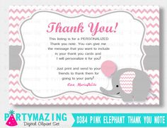New from Partymazing on Etsy: Elephant Thank You Note Pink Elephant Baby Thank you Cards Personalized Chevron Elephant Printable Thank You Cards  D384 (8.00 USD) For more @partymazing