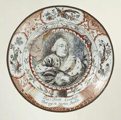 Chine de commande bord met afbeelding van Willem IV, anoniem, 1740 - 1750