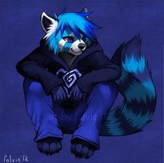 "Blue panda anthro male (------ I think he's a raccoon but I cud be wrong<---- he doesn't have a ""mask"" ..."
