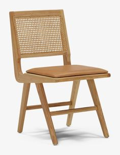 Tuck into meals on a modern, straightforward dining chair with a rattan back, sturdy oak frame and natural leather seat cushion. Folding Dining Chairs, Wood Folding Chair, Rattan Dining Chairs, Dining Chair Cushions, Leather Dining Chairs, Home Office, Leather Furniture, Dining Room Design, Modern Chairs